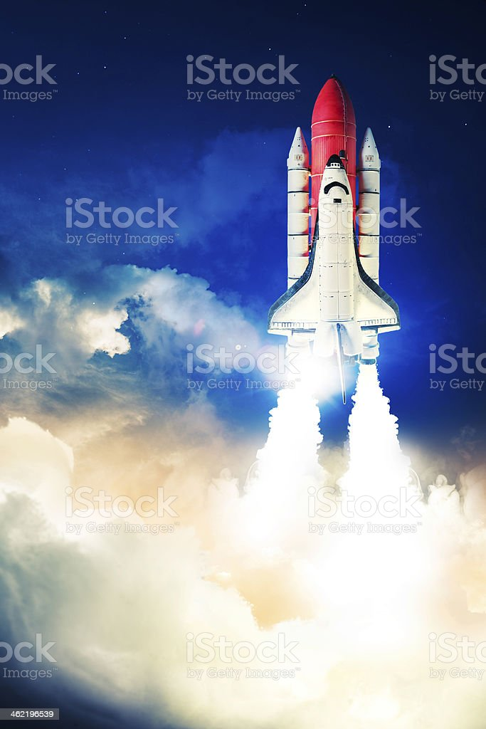 Space shuttle launching with a lot of smoke  stock photo