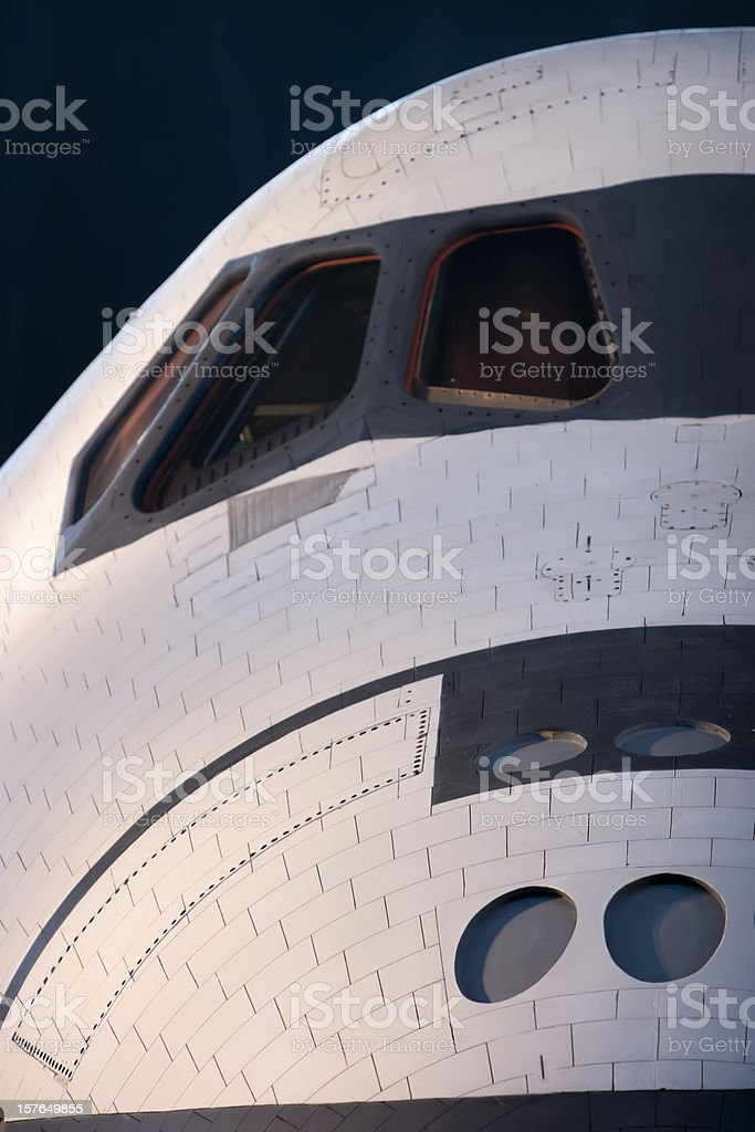 Space Shuttle Nose and Cockpit Exterior Close Up royalty-free stock photo
