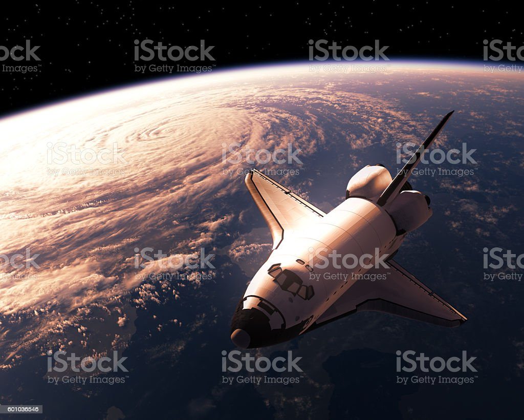 Space Shuttle Orbiting Planet Earth stock photo