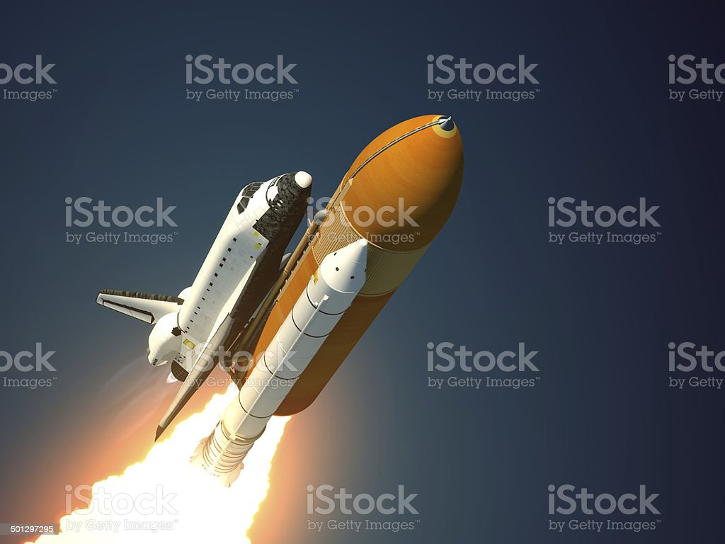 Space Shuttle Takes Off stock photo