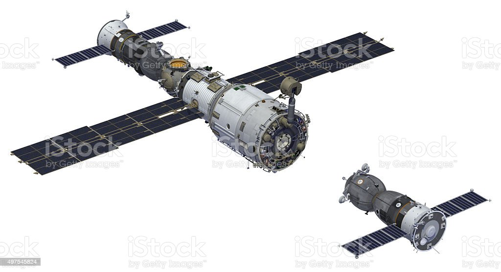 Space Station And Spacecraft stock photo