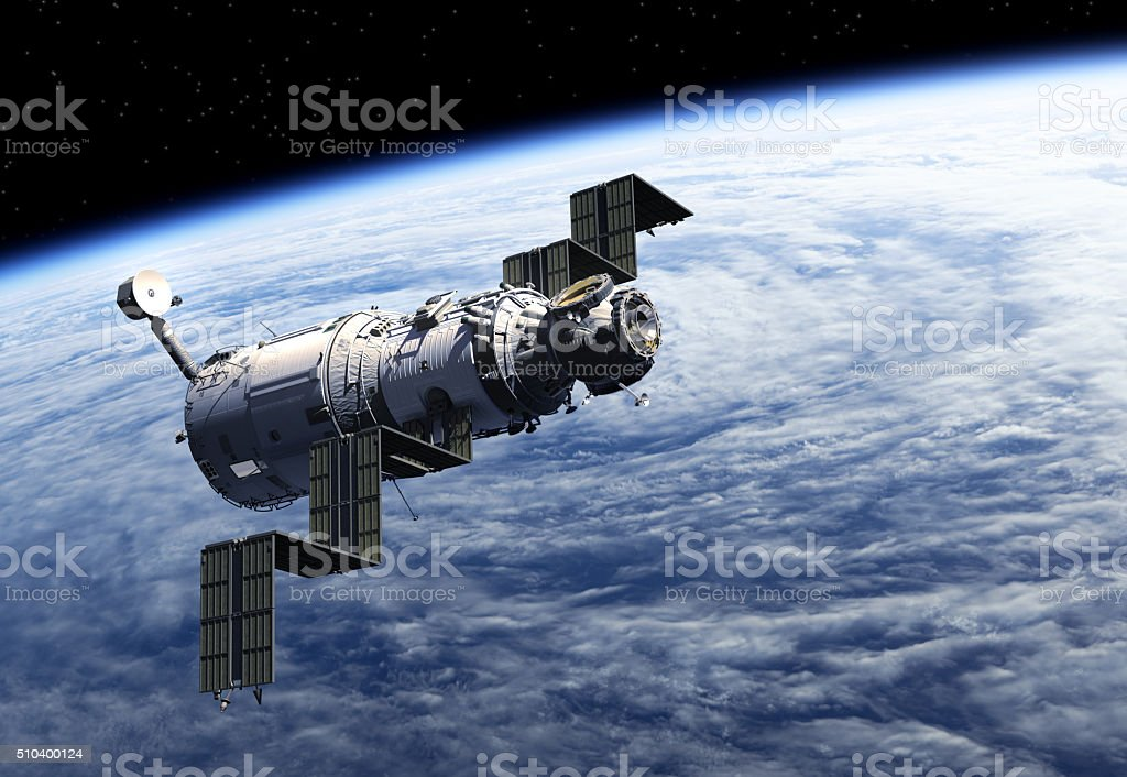 Space Station Deploys Solar Panels stock photo