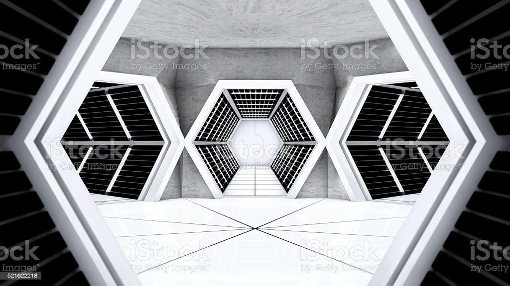 Space station hallway stock photo
