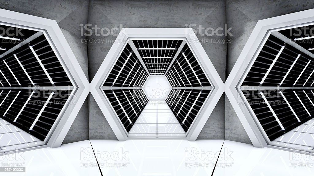 Space station hallway tunnels stock photo