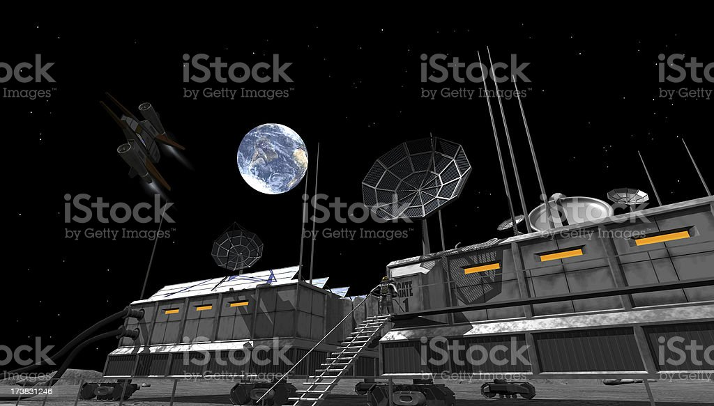 space station on moon stock photo