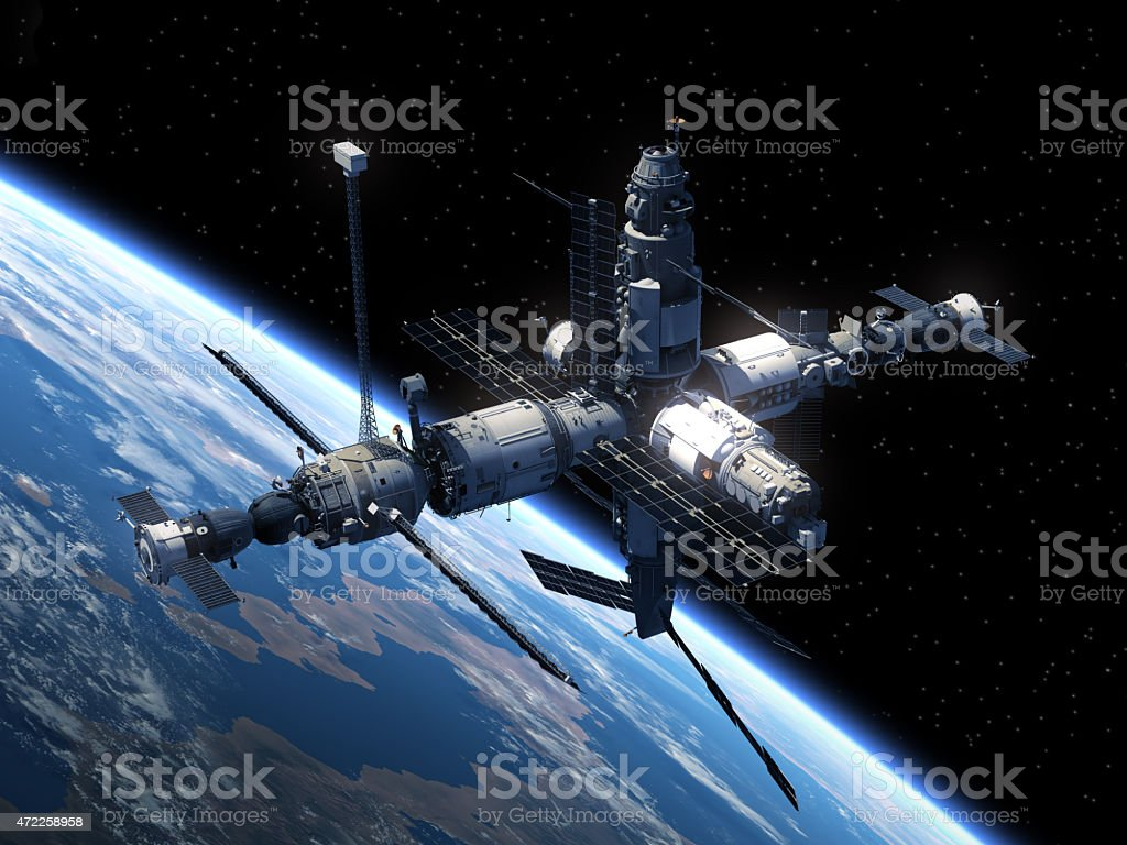 Space Station orbiting the Earth stock photo