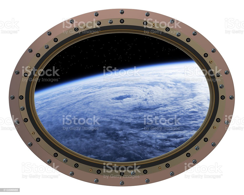Space Station Porthole. View From Space. stock photo
