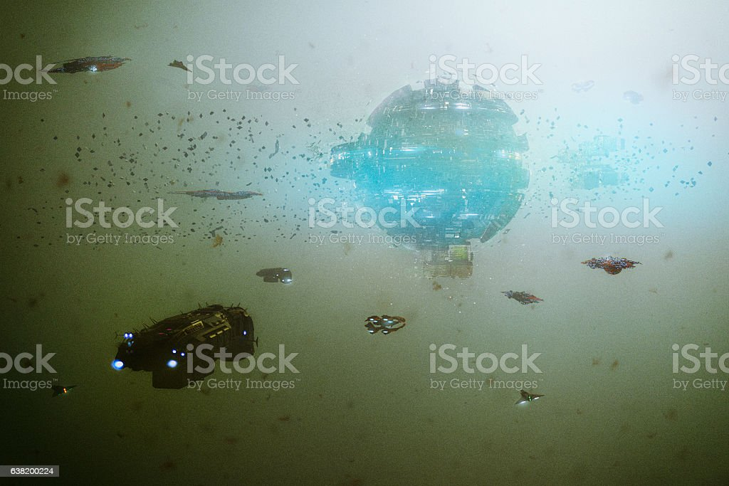Space station with flying spaceships stock photo