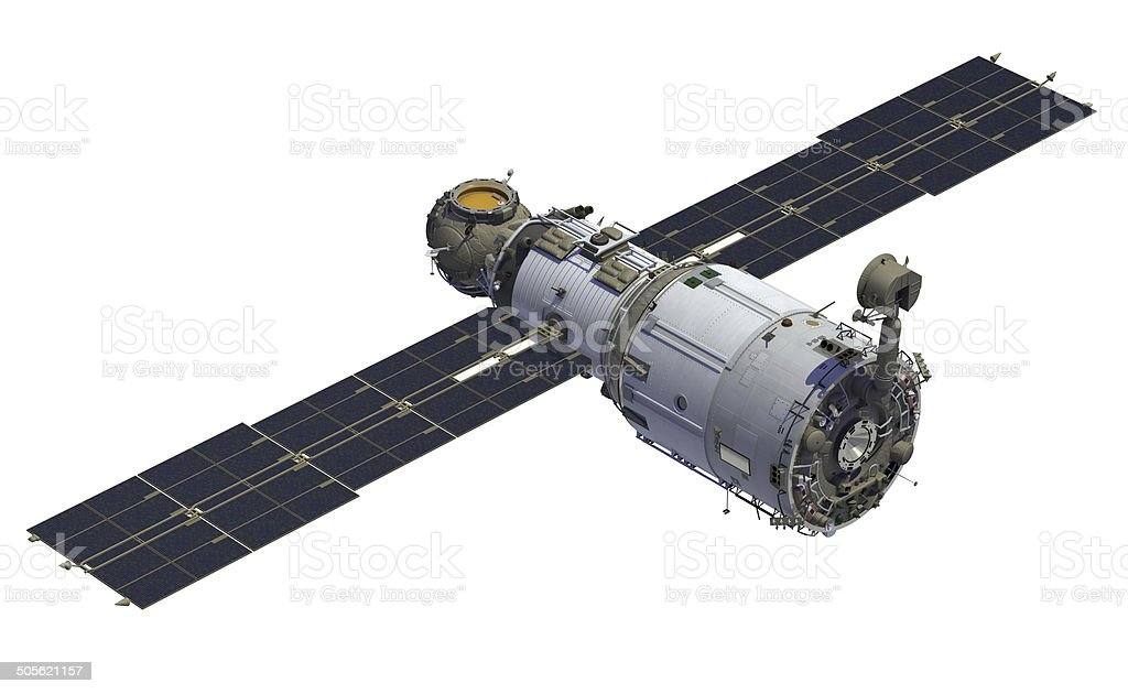 Space Station With Solar Panel Open stock photo