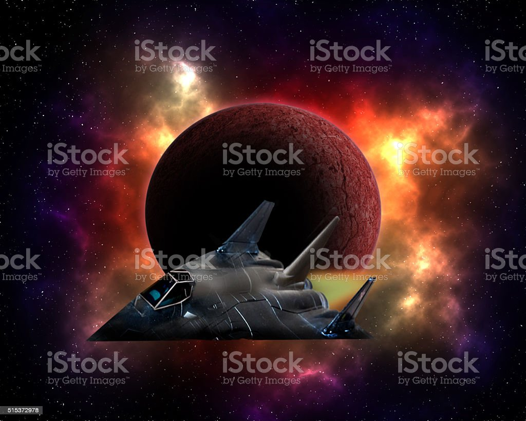 Space stealth fighter stock photo