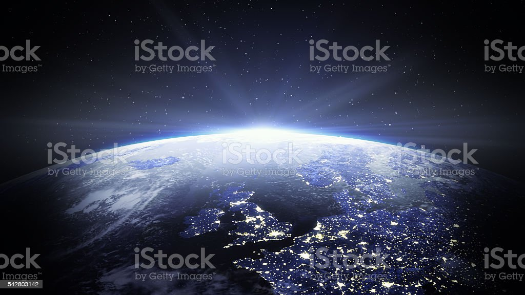 Space View Of United Kingdom and Europe stock photo