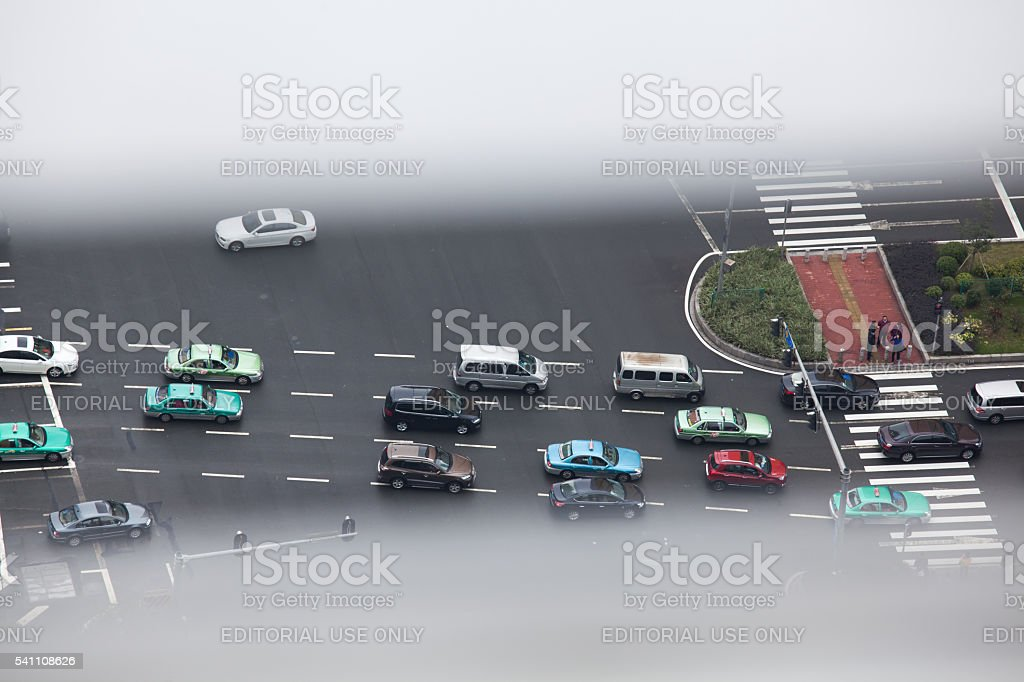 Space view of urban traffic stock photo