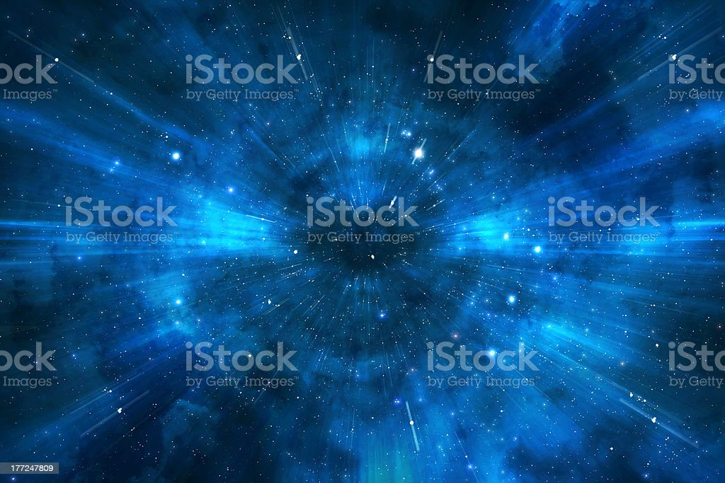 Space warp travel trough universe stock photo