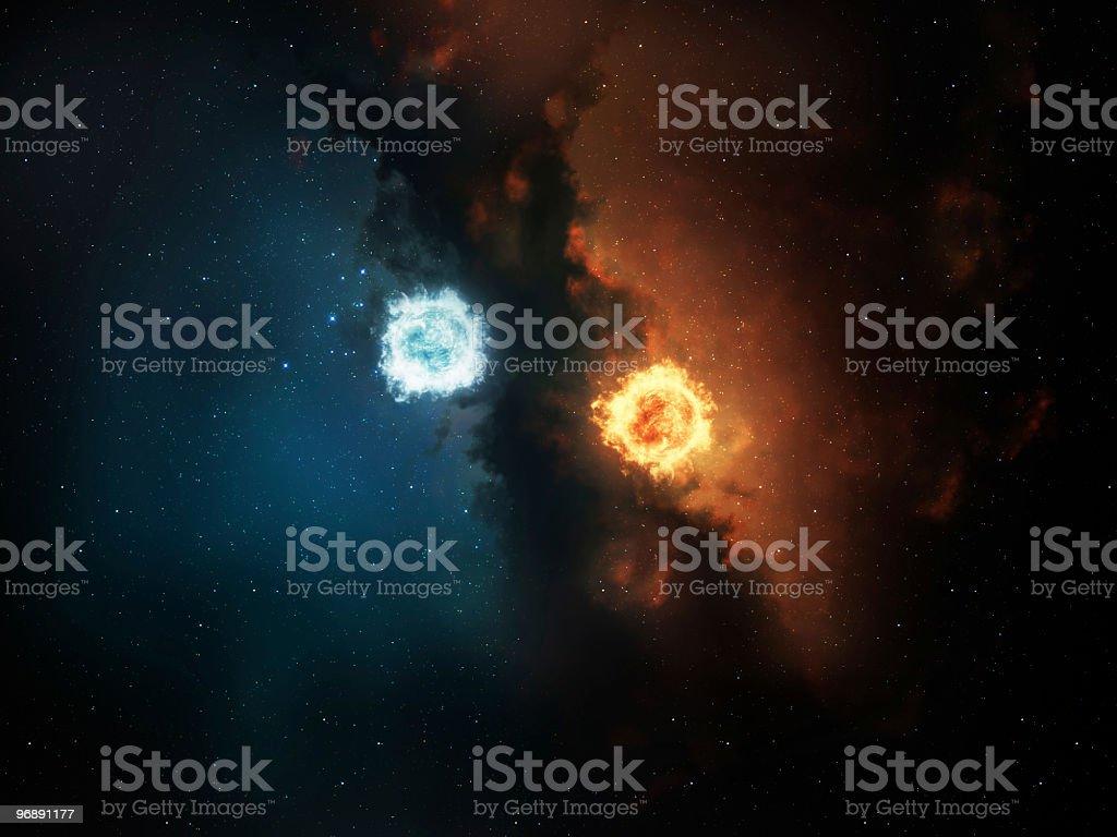 Space yin yang stock photo