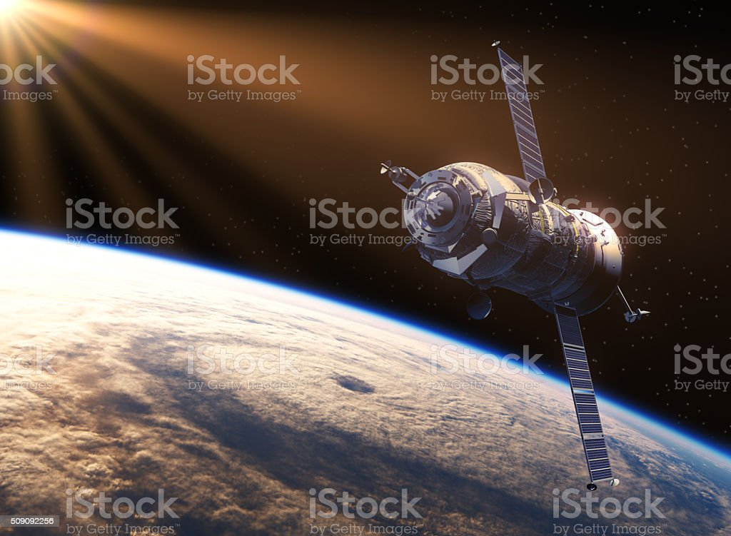 Spacecraft In The Rays Of Sun stock photo