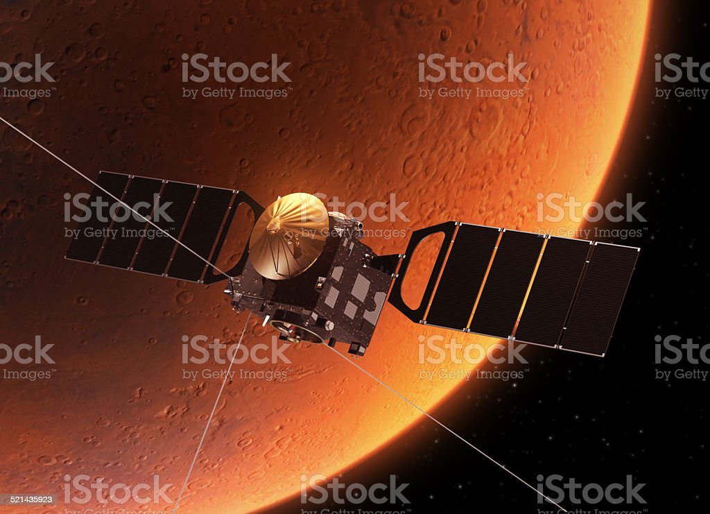 Spacecraft Orbiting Planet Mars stock photo