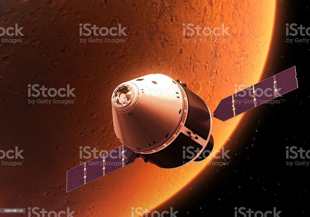 Spacecraft Orbiting Red Planet stock photo