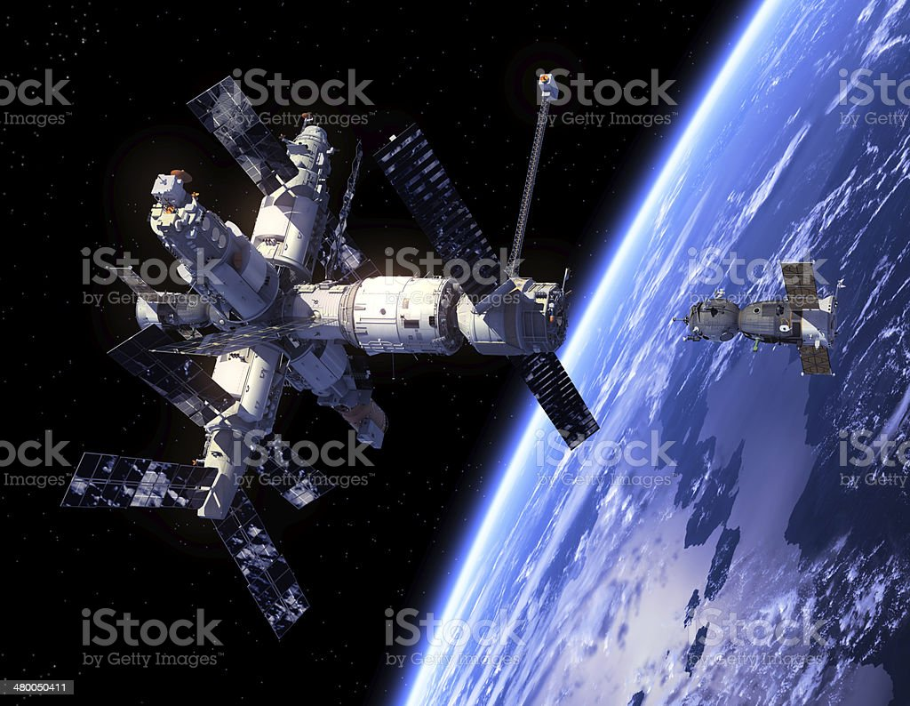 Spacecraft Soyuz And Space Station stock photo