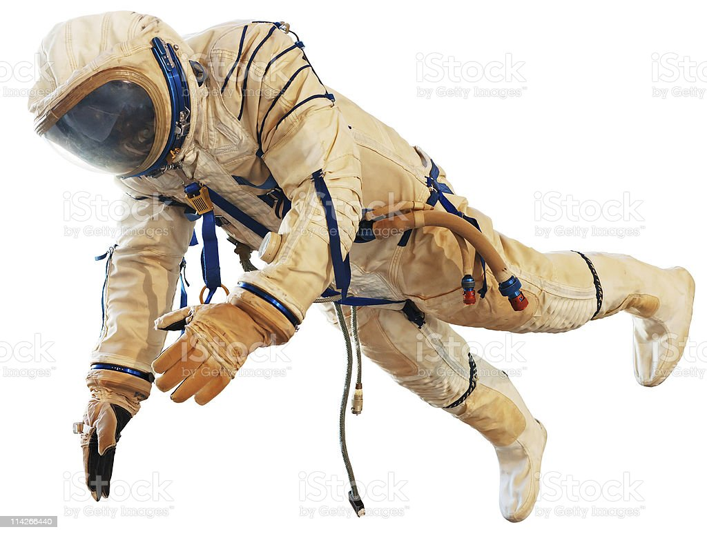 Spaceman in space suit stock photo
