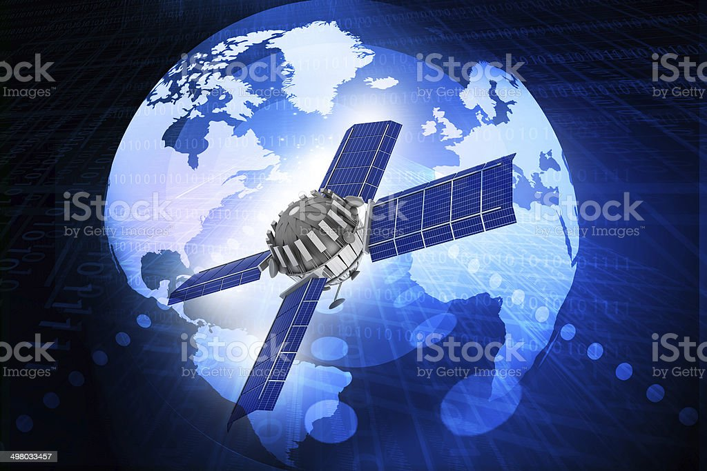 spaceship at the Earth orbit. stock photo