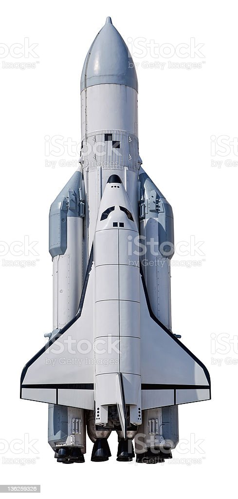 Spaceship Buran from Samara, Russia on a white background stock photo