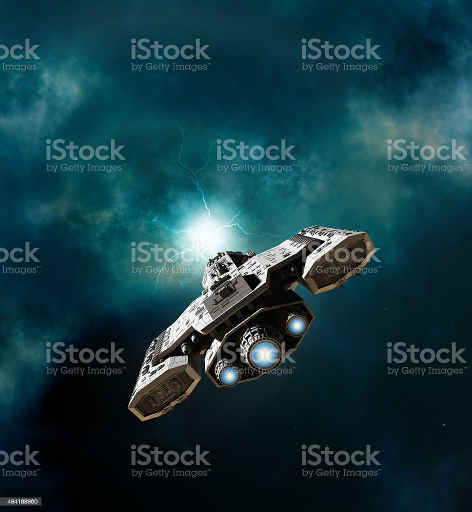 Spaceship Entering a Wormhole stock photo
