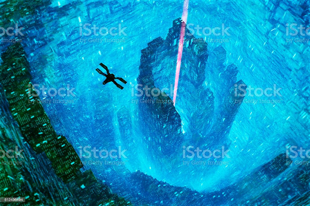 Spaceship flying into futuristic city hive stock photo