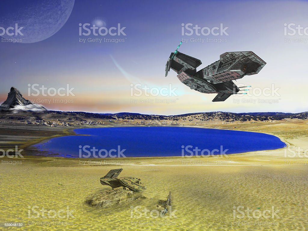 Spaceship flying on the lake stock photo