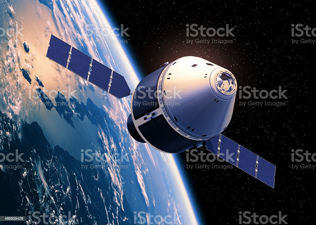 Spaceship In Space. stock photo