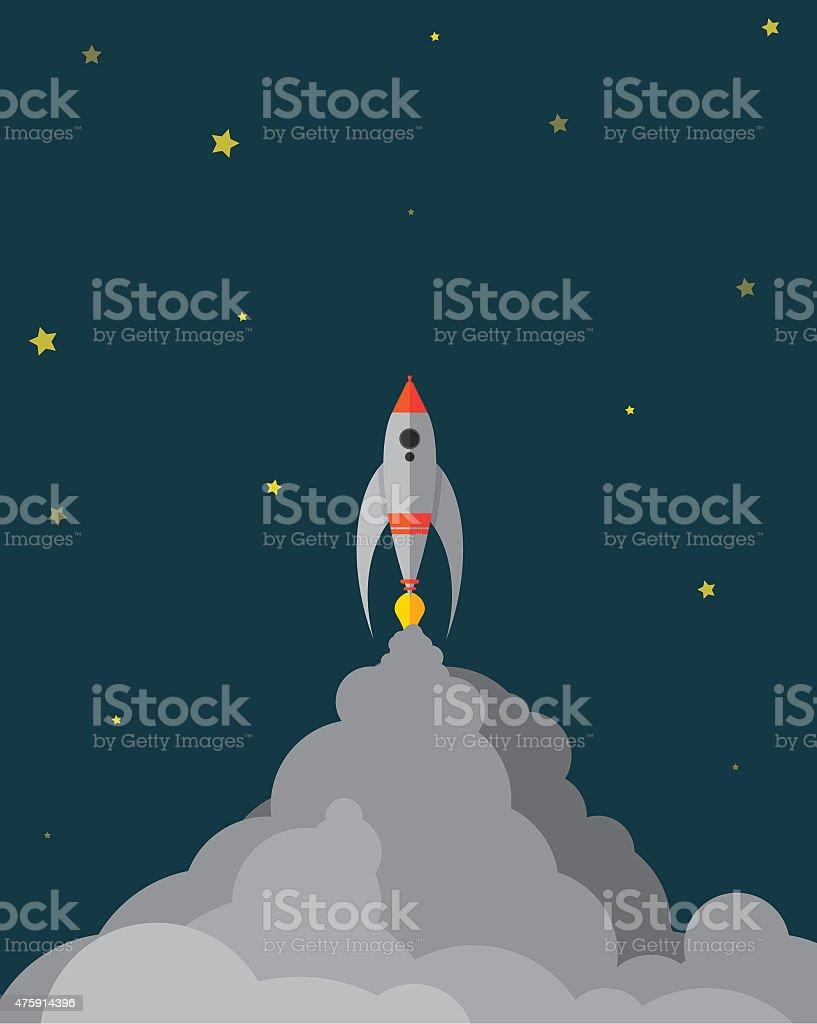 Spaceship Liftoff at Night vectored stock photo