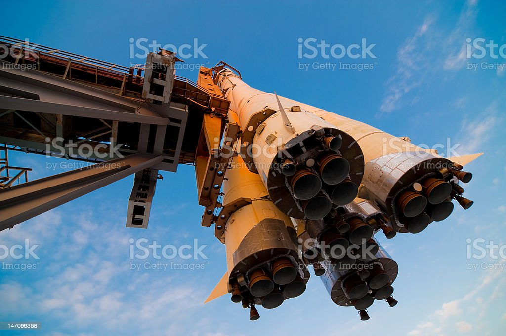 Spaceship on a launchpad stock photo
