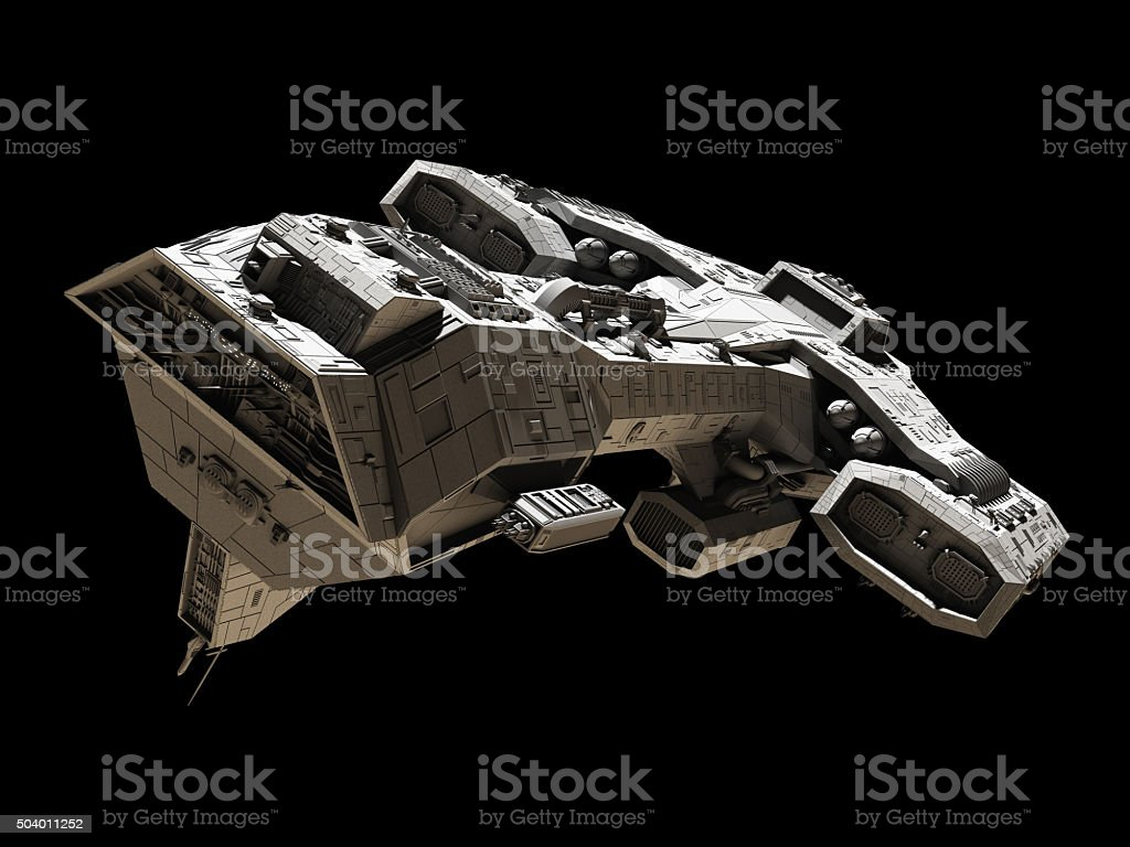 Spaceship on black - front side view stock photo