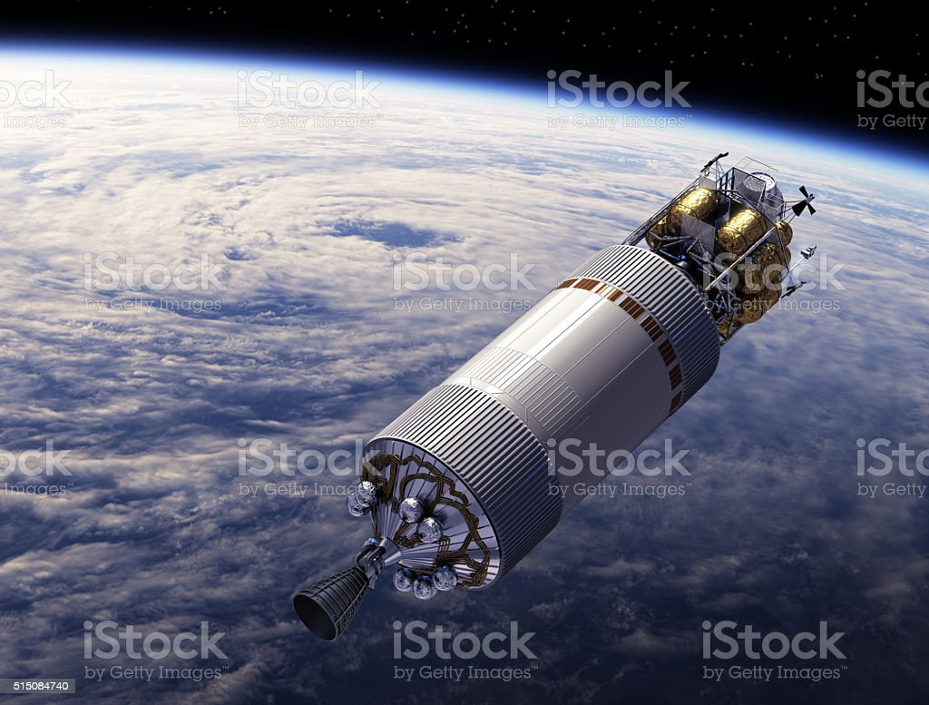 Spaceship Orbiting Earth stock photo