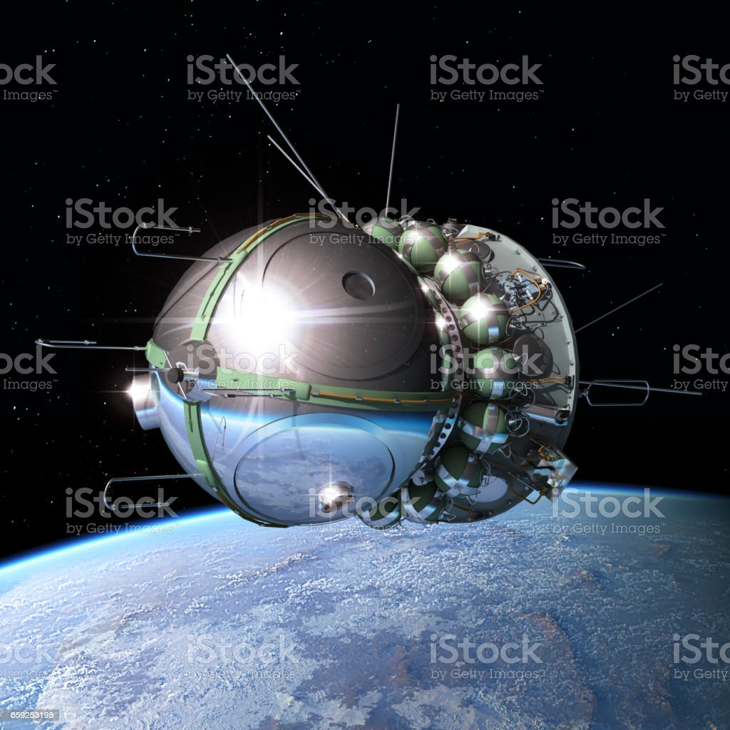Spaceship Vostok1 at the Earth orbit stock photo