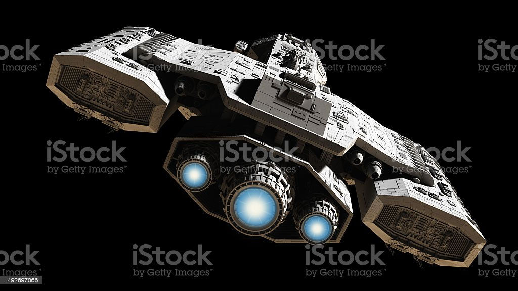Spaceship with Blue Engine Glow stock photo
