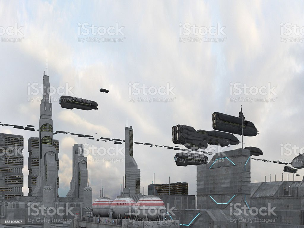 Spaceships flying over a city royalty-free stock photo