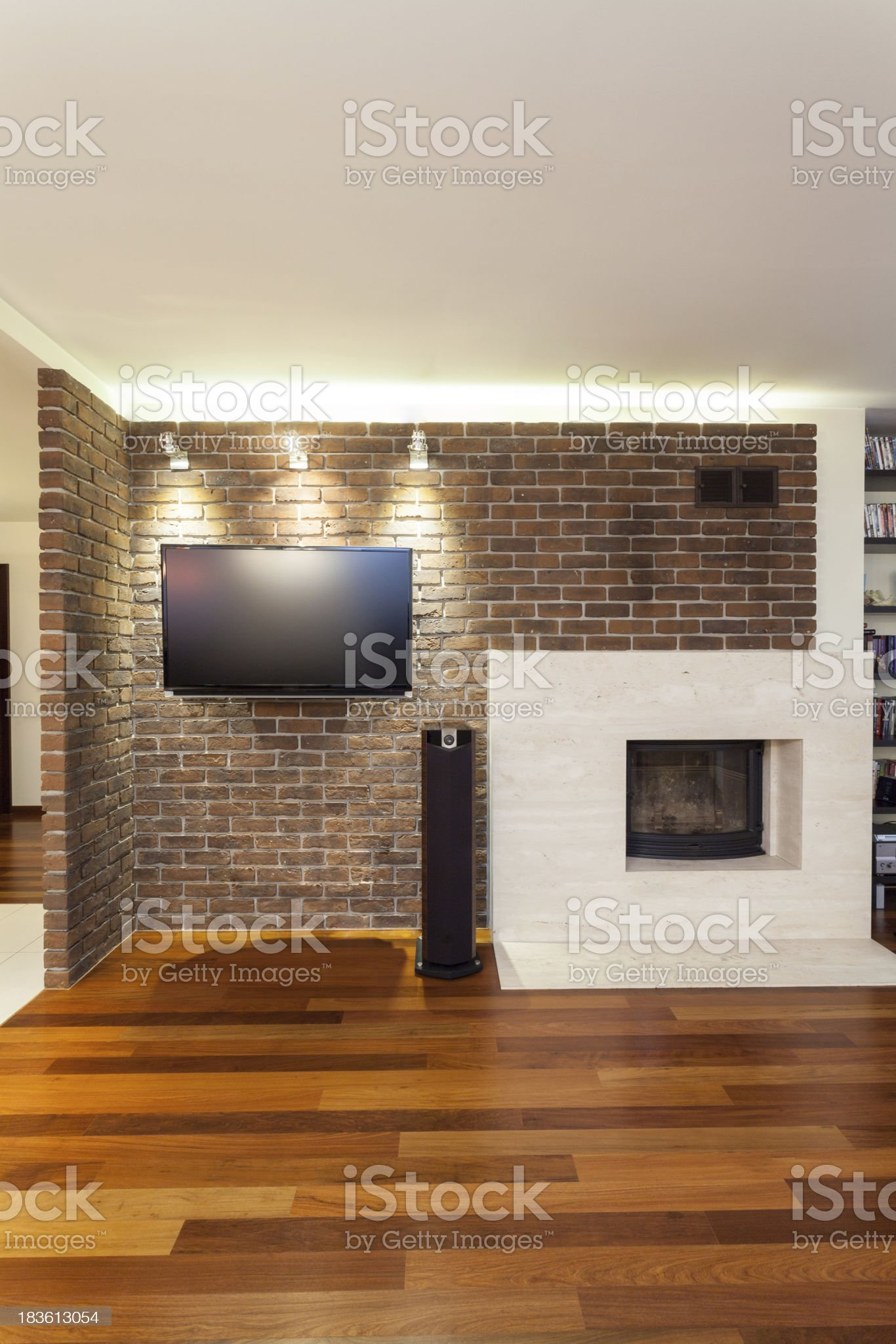 Spacious apartment - fireplace royalty-free stock photo