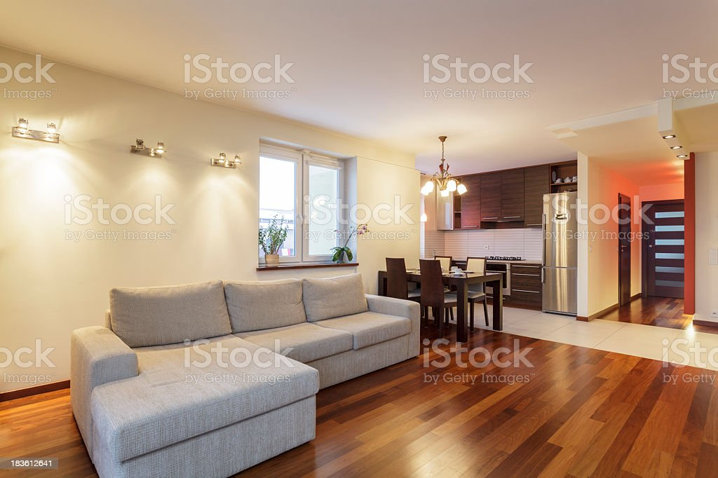 Spacious apartment - Living room royalty-free stock photo