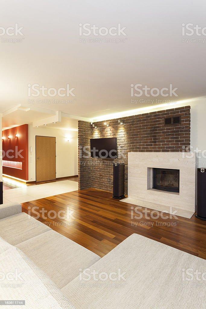 Spacious apartment - modern interior royalty-free stock photo