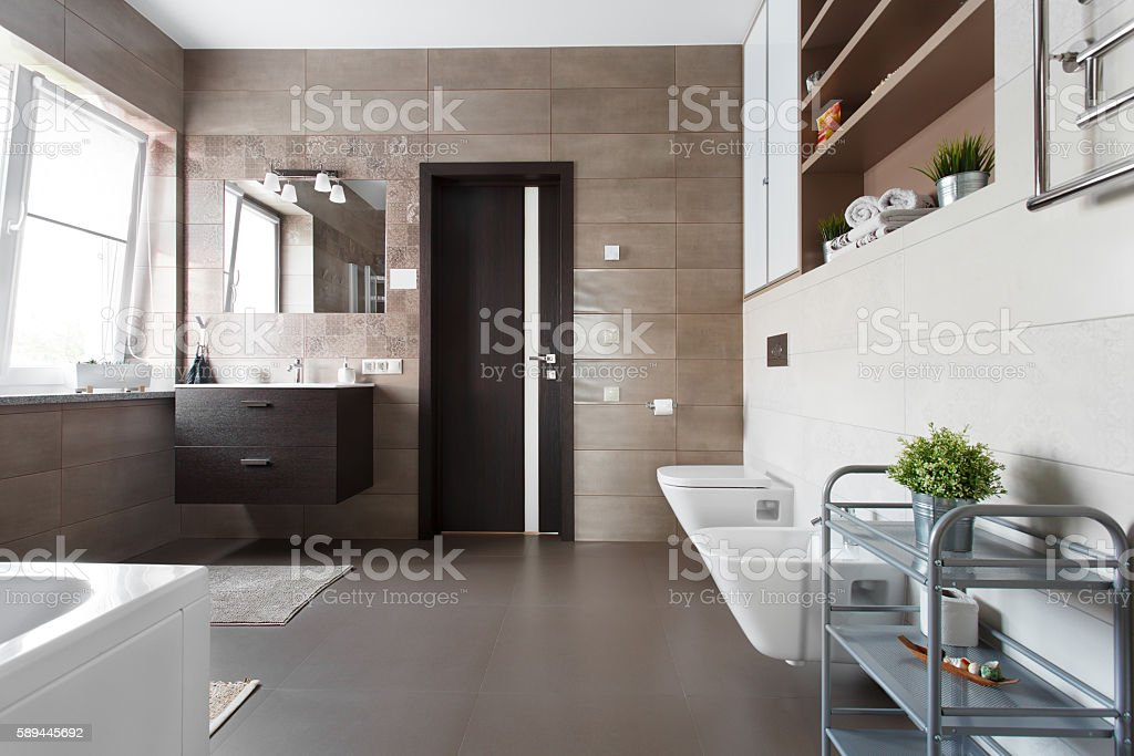 Spacious bathroom in brown tones stock photo