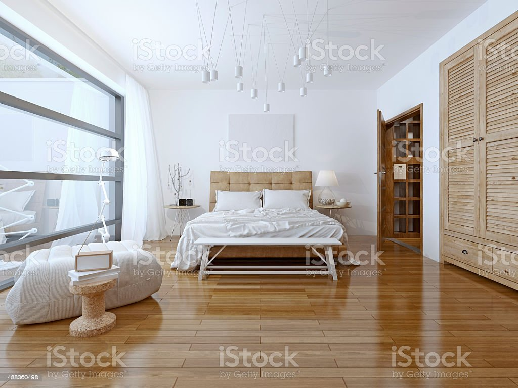 Spacious bedroom high-tech style stock photo