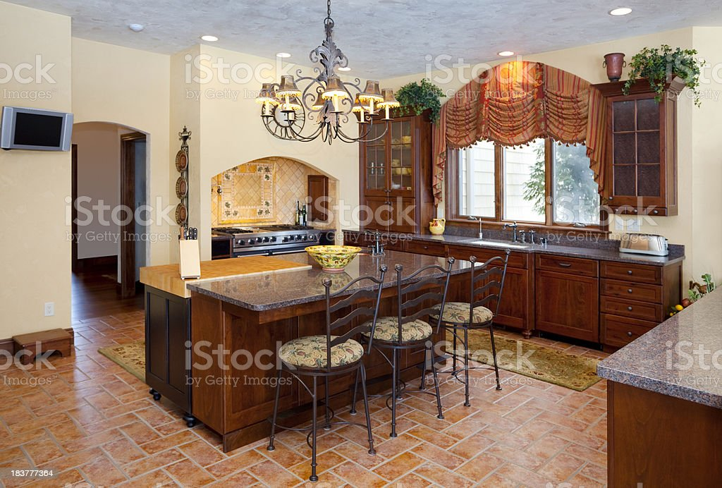Spacious Dine-In Kitchen With Granite Counters royalty-free stock photo