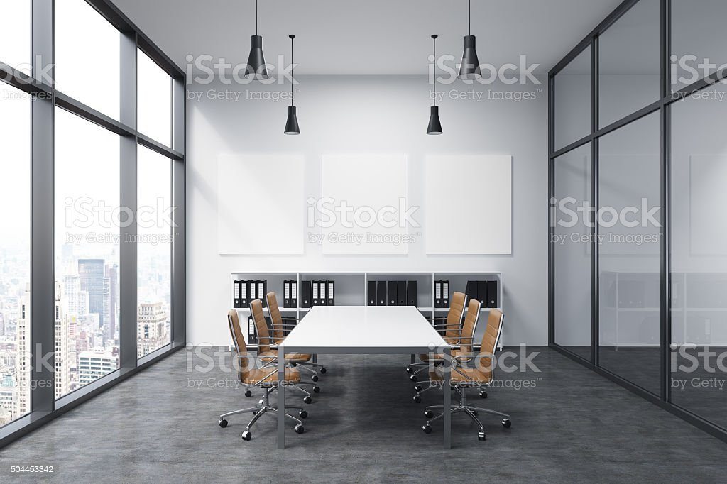 Spacious empty meeting room stock photo
