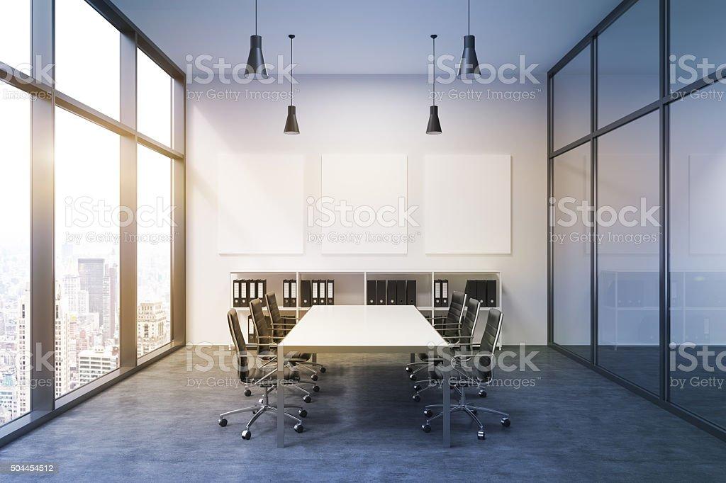 Spacious empty meeting room stock photo