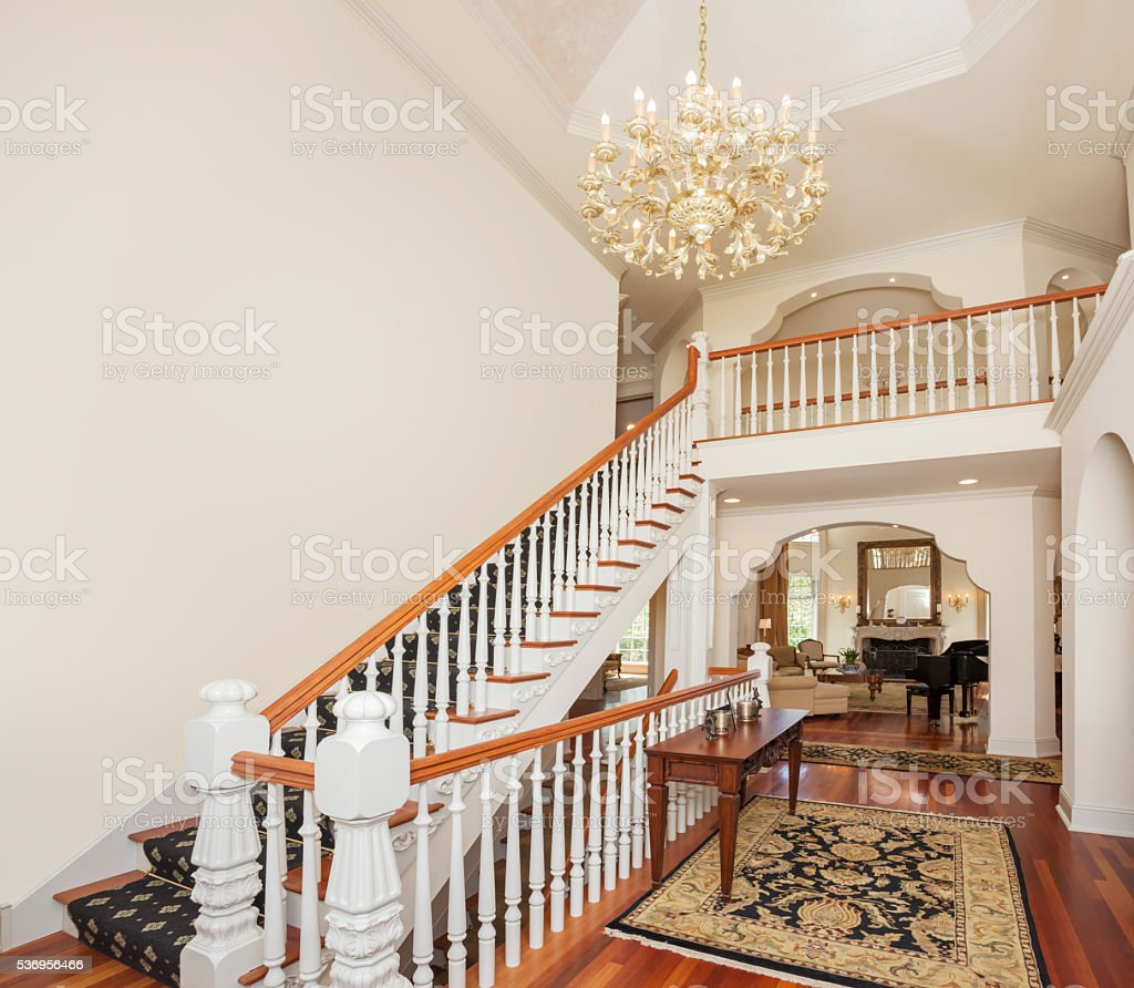 Spacious grand, foyer of showcase mansion home. stock photo