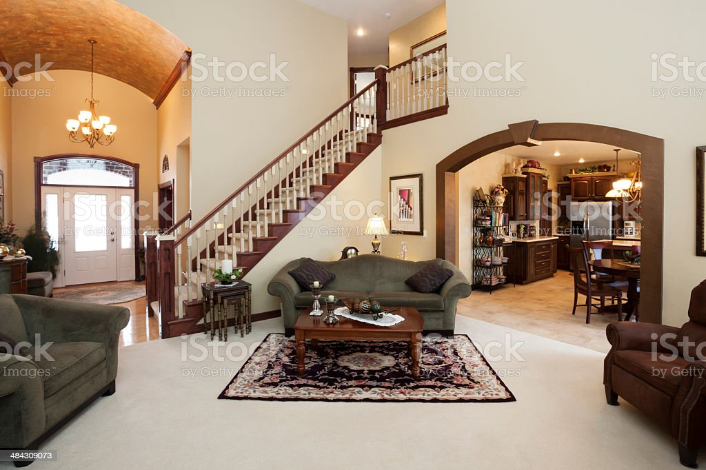 Spacious Great Room in Contemporary Home stock photo