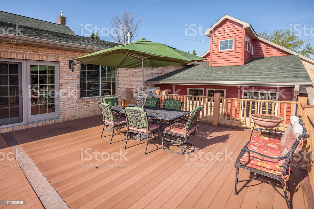 Spacious Home With Amazing Large Inviting Deck stock photo