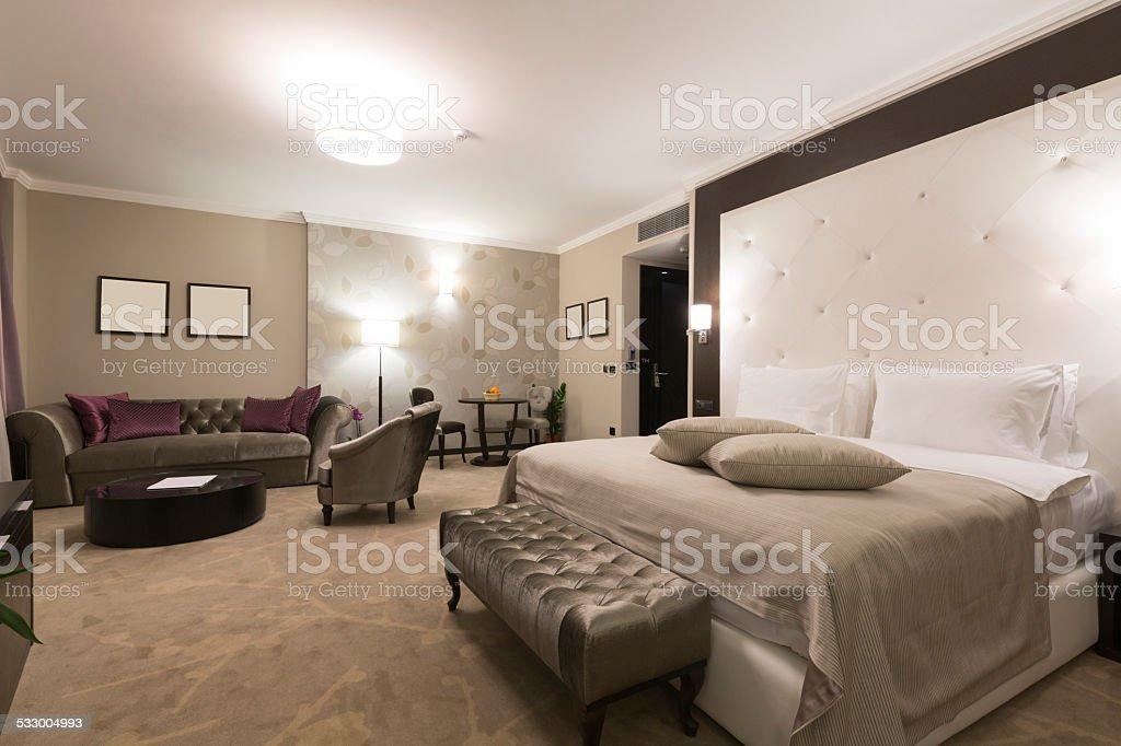 Spacious hotel suite interior stock photo