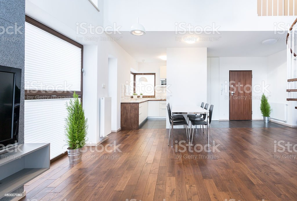 Spacious interior of dinning room stock photo