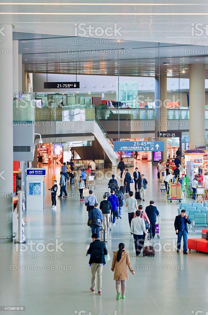 Spacious interior of Hongqiao Airport, Shanghai, China stock photo